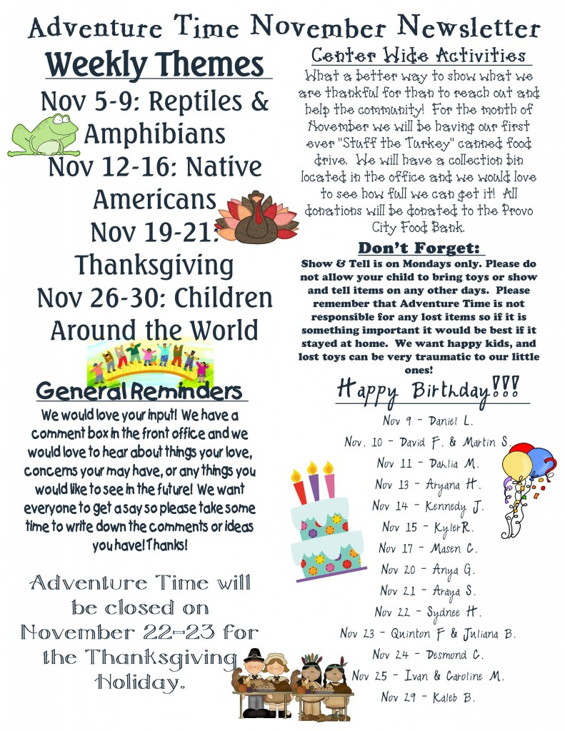 Adventure Time Preschool and Childcare | Monthly Newsletters